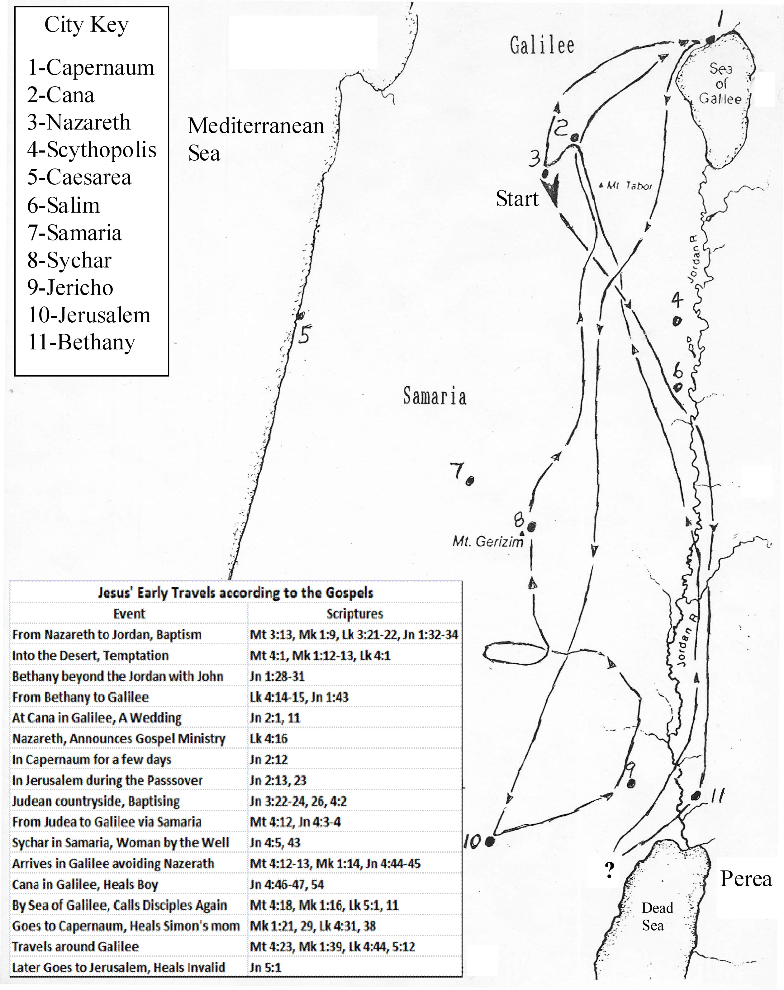 Map Showing Jesus Possible Early Ministry Journeys – Map Of Jesus Travels
